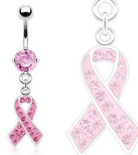 Steel Breast Cancer Awareness Ribbon Dangle Navel Belly Ring S1