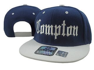 VINTAGE COMPTON FLAT BILL SNAP BACK HAT BASEBALL CAP NAVY BLUE   WHITE