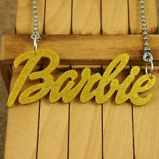 YELLOW ACRYLIC PENDANT KITSCH BARBIE NAME NECKLACE JEWELRY NICKI MINAJ