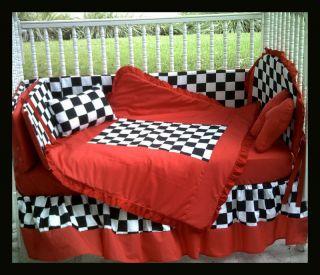 NEW baby crib bedding set RED w/ CHECKERED FLAG fabric