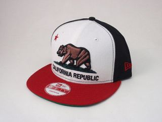 New Era Snapback Cap California Republic Hat Adjustable 9FIFTY White