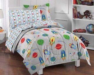 NEW Space Rocket Gray Kids Bedding Comforter Sheet Set Twin