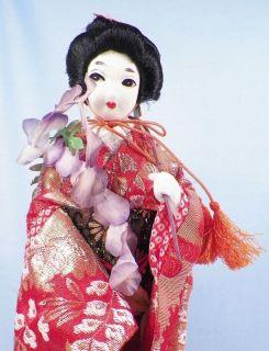 Vintage Japanese Geisha Doll Stockinette Face Silk Flowers Cloth