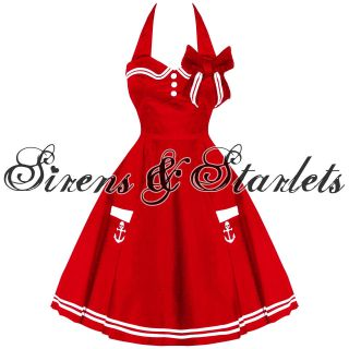 HELL BUNNY MOTLEY NEW RED VTG 50S RETRO NAUTICAL SAILOR ROCKABILLY