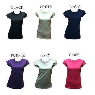 Womens Plain Cap Sleeve Cotton T Shirt SIZES XS L