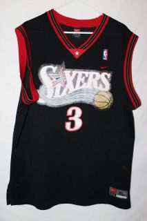 Mens Nike Sixers Allen Iverson Jersey Black Size X Large.