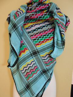 Blue Arab Shemagh Head Scarf Neck Wrap Authentic Cottton Palestine