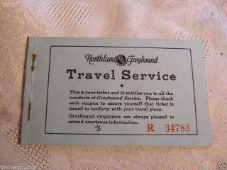 NORTHLAND GREYHOUND BUS ADV TICKET INFO 1940S VINTAGE