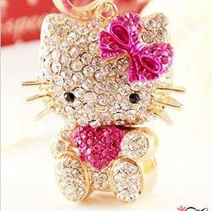 Hello Kitty Hot Pink Cat Fashion Swarovski Crystal Charm Pendant Key