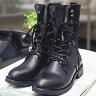 WOMAN FLAT LACE UP ARMY BIKER ANKLE BLACK LADIES MILITARY BOOTS