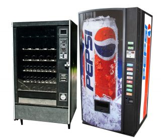 Soda and Snack Vending Machines Combo Two Machines Beverage and Food