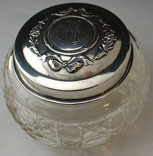 antique hallmarked SILVER cut glass dressing table vanity pot flower