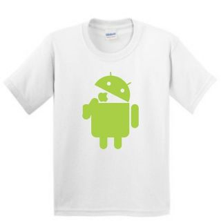 Android Droid logo eats Apple tee t shirt funny google
