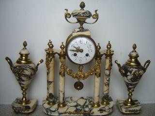 Rare OLLENDORFF Antique French Marble Brass Mantle Clock Garniture