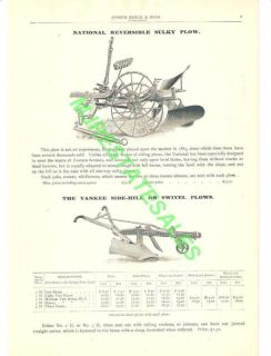 1903 National Sulky Yankee Swivel Horse Drawn Plow AD