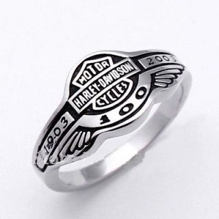 Harley Davidson 100 Anniversary 1903 2003 Ring Size12,Stainless Steel