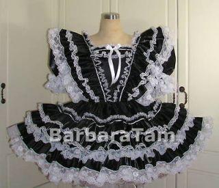 BBT ADULT SISSY SHIMMERING TAFFETA RUFFLY DRESS black