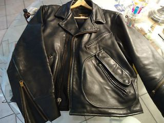 VANSON CUSTOM LEATHER BIKER JACKET HARLEY DAVIDSON LOGO SIZE 46 TALON