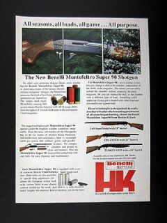 Heckler & Koch Benelli Montefeltro Super 90 Shotgun 1988 print Ad