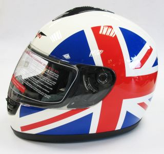 BRITAIN MOTORCYCLE MOTORBIKE FULL FACE HELMET UNION JACK BRITISH FLAG