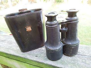 Antique Lemaire Fabt Binoculars w/ Leather Case Military Issue? Civil