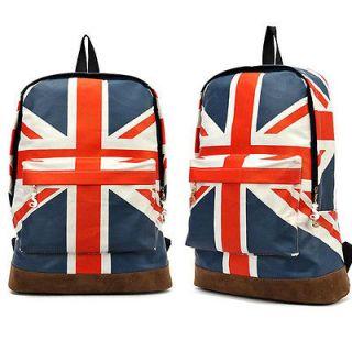 Canvas Olympic Games UK Flag Union Backpack Traveling Bag Women Boy