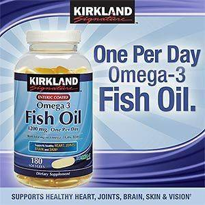 Kirkland Signature Enteric Coated Omega 3 Fish Oil Concentrate 1200 mg
