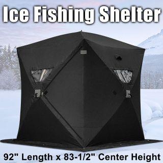 Dark Blue Ice Fishing Shelter 1 Man 2 Person Pop Up Portable Shanty