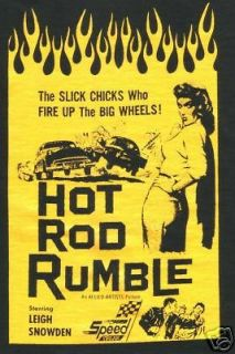 Vintage Pin up HOTROD RUMBLE Hot Rod T Shirt Greaser 1950s Rockabilly