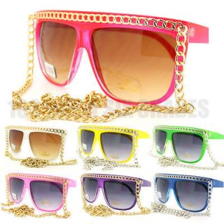 Pop Star Fat GOLD/SILVER CHAIN Sunglasses Flat Top Oversized Retro