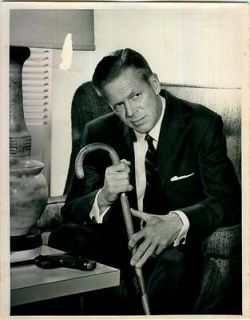 Circa 1960 Actor Dan Duryea Movie Star Scene Cane Suit Chair Gun Press