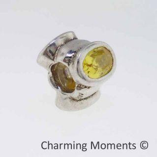Retired Authentic Pandora Silver Charm Cats Eye Bead Yellow Cz