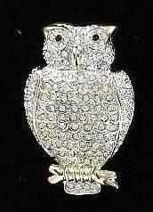 Stunning, Costume OWL PIN, White Crystal, Green Eyes, Gold Trim