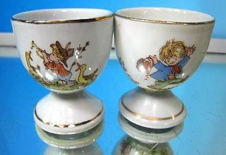 FOOTED PORCELAIN EGG CUPS COLORFUL CHILD SCENES HAND PAINTED GOLD RIMS