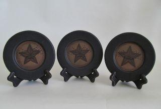 Primitive Faith Family Friends Star & Berry Wooden Plates ~ Set of 3