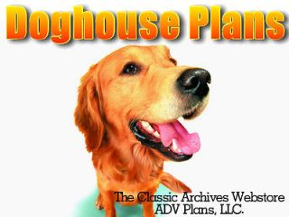 DOG HOUSE PLANS, COMPLETE SET, LARGE DOG, WITH PATIO, DETAILED PLANS