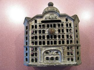 Antique Vintage Cast Iron Bank Building Art Deco Dome Steeple Old