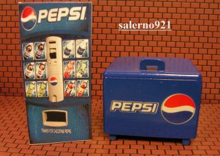 Pepsi Cooler Ice Chest & Soda Vending Machine+FREE 1:24 Scale Diorama