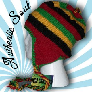 Rasta Cap Wool Knit Ear Flap Hat Beanie Peter Tosh Mens Womens
