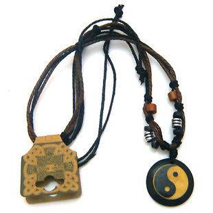 Handmade Tibetan yak bone necklace yin ying yang sign