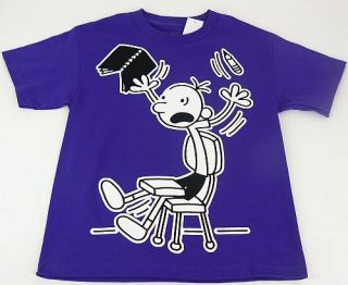 Diary Of A Wimpy Kid Book & Pencil Purple S/S Tee T Shirt Boys S 8 M