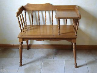 Vintage Telephone Desk Oak Telephone Chair Gossip Bench Solid Heavy