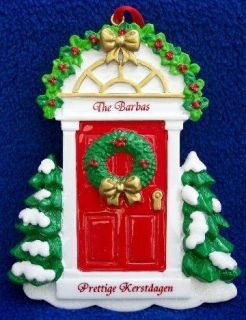Holland Dutch Red House Door Christmas Ornament   Personalized