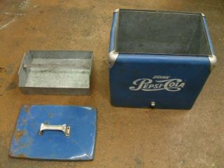Vintage Metal Pepsi Cooler Ice Chest Blue Old Pepsi Logo