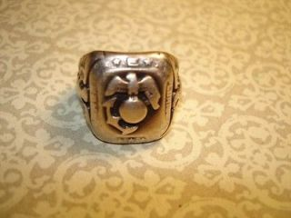 VINTAGE WORLD WAR TWO MARINES STERLING SILVER RING~*~