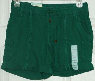 Womens Emerald Green Modern Fit Cuffed Linen Shorts~ Size 12 ~NWT
