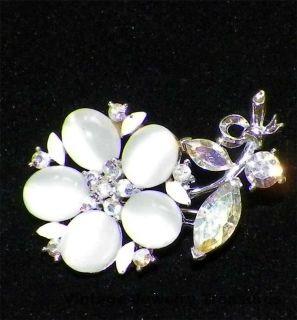 LISNER Aurora Borealis Rhinestone Enamel Silver Tone Flower Pin