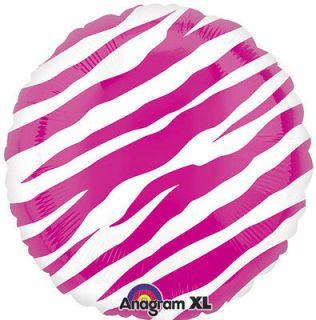 Pink Zebra Print Black and White Round Mylar Balloon 18 Mylar Party