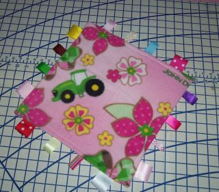 Pink John Deere Fleece Ribbon Blanket Baby Girl Flowers Plaid