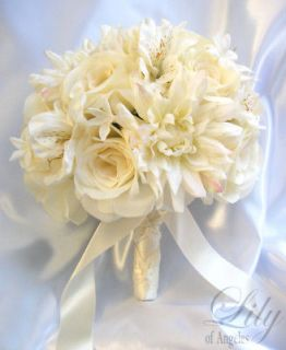 Wedding Bridal Bouquet Bride Decoration Arrangement Silk Flowers IVORY